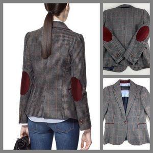 ZARA Checked Jacket Blazer Wool Blend Elbow Patch